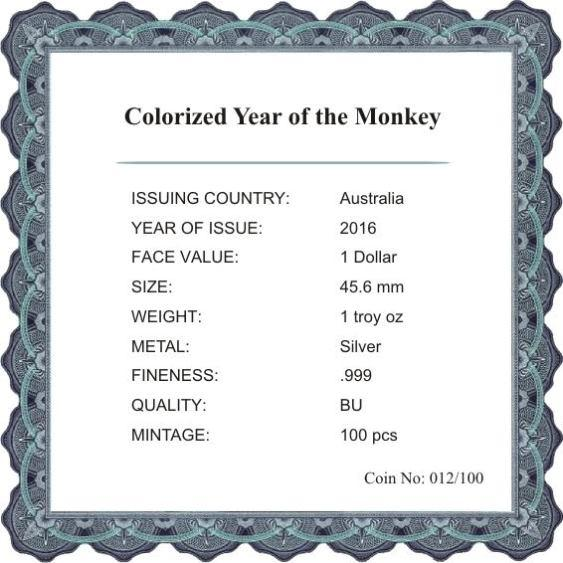 AUSTRALIA 2016 $1 YEAR OF THE MONKEY 1 Oz SILVER COLOR MINTAGE 100 PCS COA v2