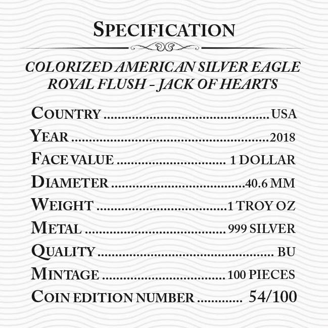 2018 SILVER EAGLE POKER JACK OF HEARTS COLOR COLORED MINTAGE 100 PCS WITH COA