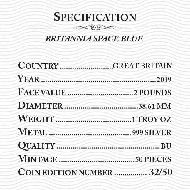 BRITANNIA Space Red 1 Oz Silver Coin 2£ Pound United Kingdom 2019